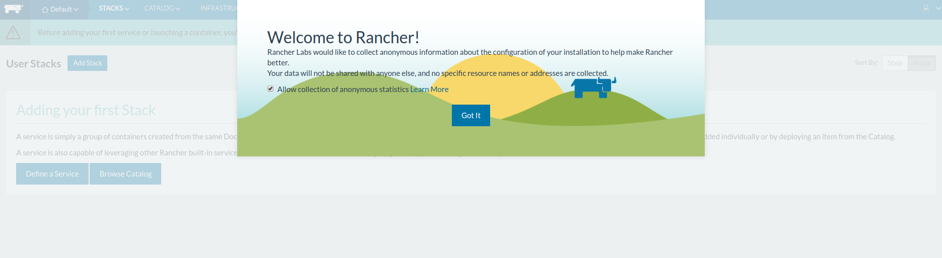 Welcome to Rancher modal
